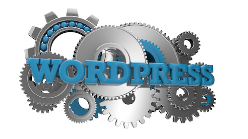 render of gears and the text wordpress