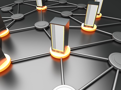 Connected cloud of 19 inch server towers. 3D rendered illustration.